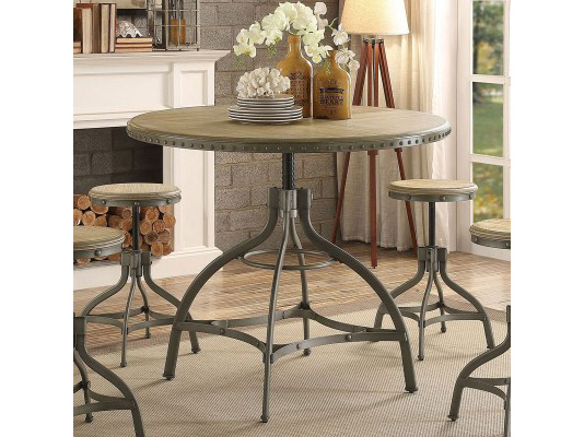 Beacher Industrial Style Metal Adjustable Height Round Dining Table