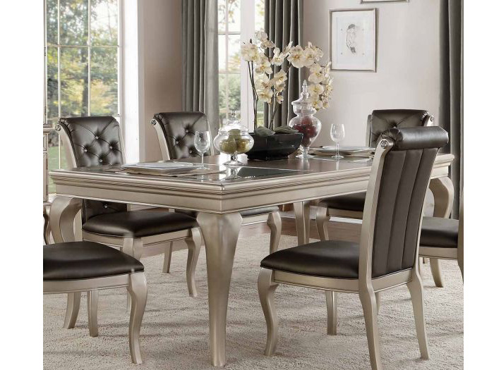 Crawford Traditional Silver Wood Glass Leaf Dining Table