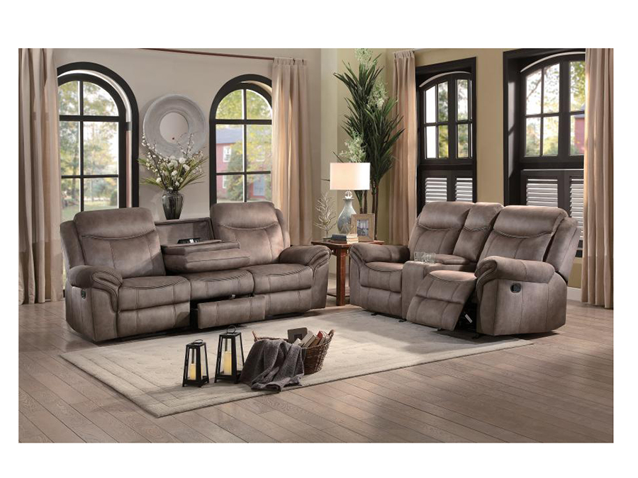 Awesome Aram Double Reclining Sofa Set In Brown Bralicious Painted Fabric Chair Ideas Braliciousco
