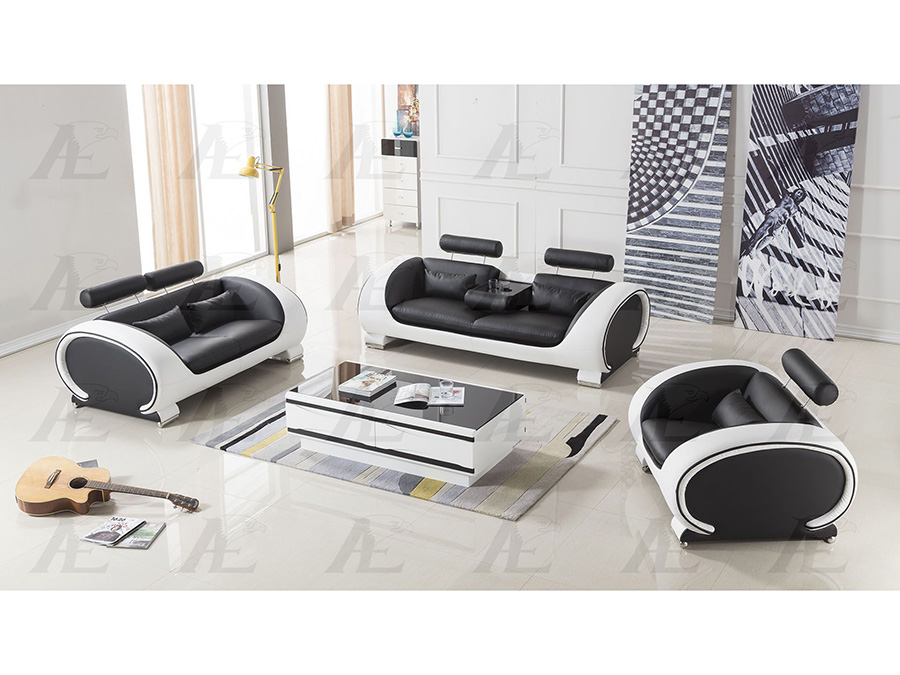 Superb 3Pcs Black And White Faux Leather Sofa Set