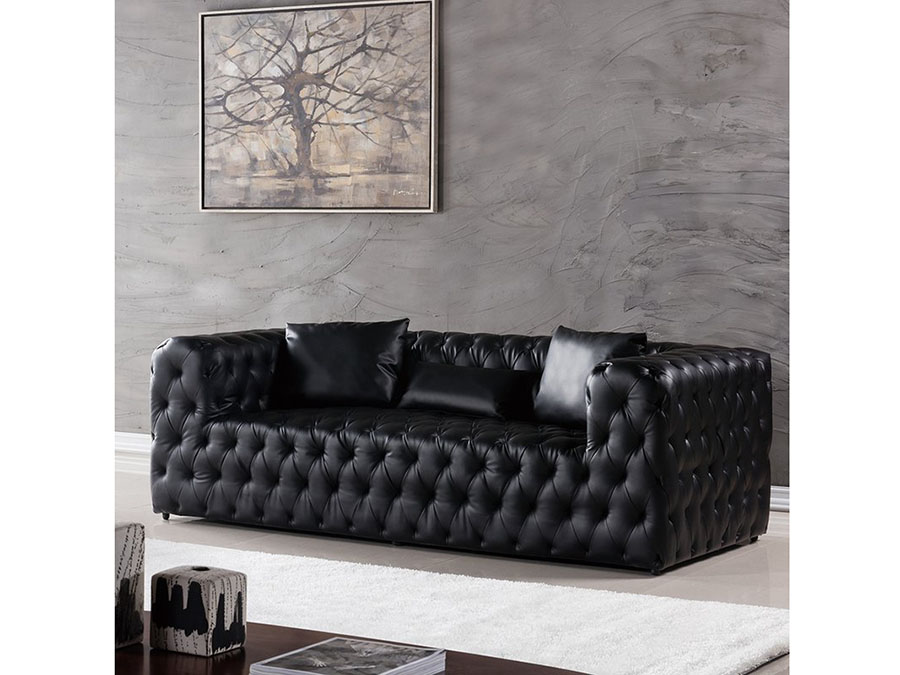 Black Faux Leather Sofa - Shop for Affordable Home Furniture, Decor ...