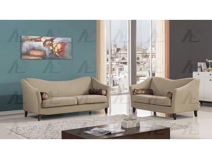 Tan Fabric Sofa Set