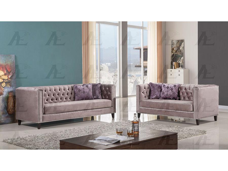 Dusty Brown Fabric Sofa Set