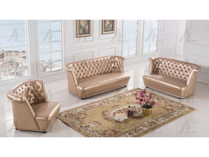 3Pcs Rose Gold Faux Leather Sofa Set