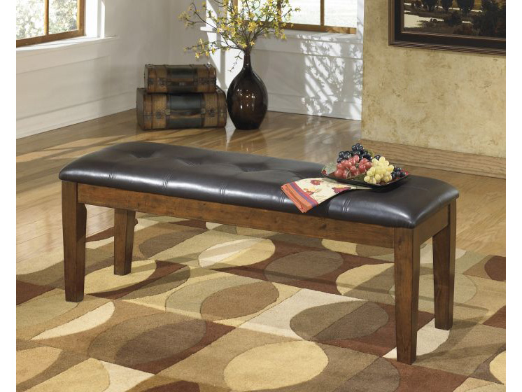 Ralene Large Upholstered Dining Bench In Medium Brown
