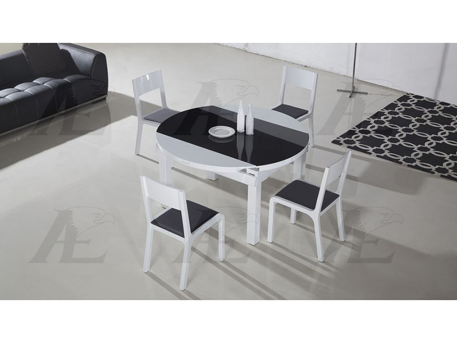 Table Top Extendable Dining Set In Black White