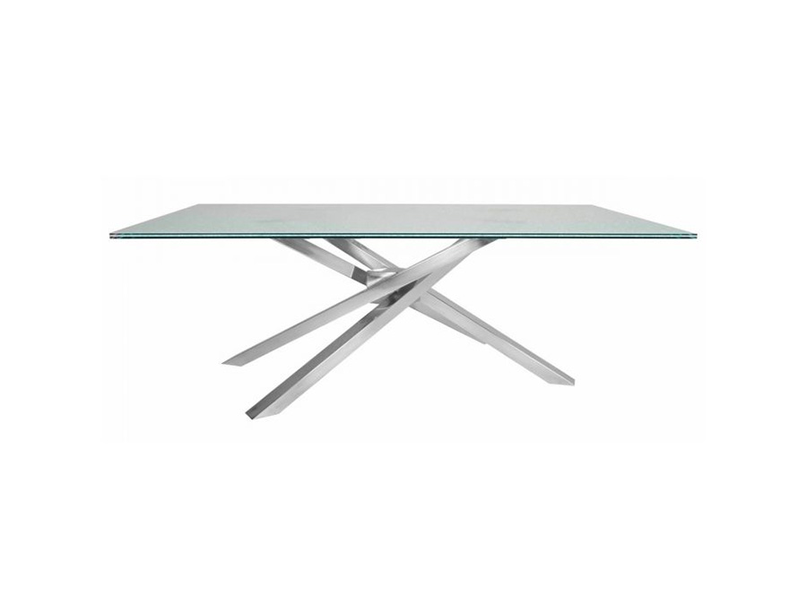 Ritz Illusione Rectangle Dining Table Base W/Top In Stainless Steel