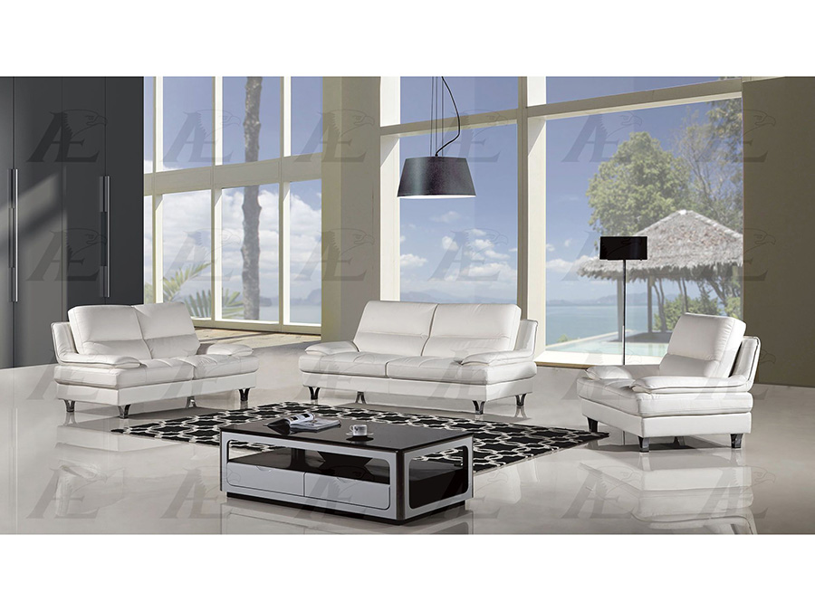 White Genuine Leather Sofa Set