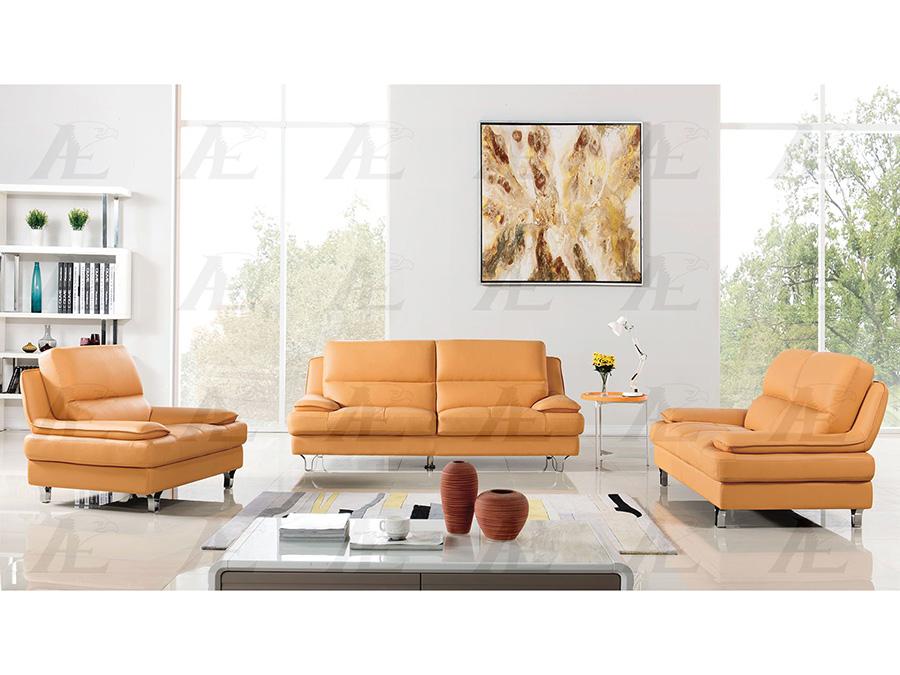 Yellow Genuine Leather Sofa Set