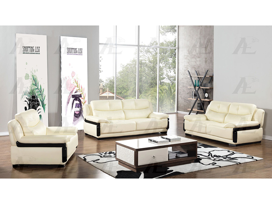 Ivory Genuine Leather Sofa Set