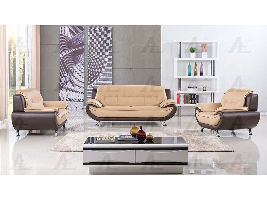 Tremendous Yellow And Brown Genuine Leather Sofa Set Interior Design Ideas Clesiryabchikinfo