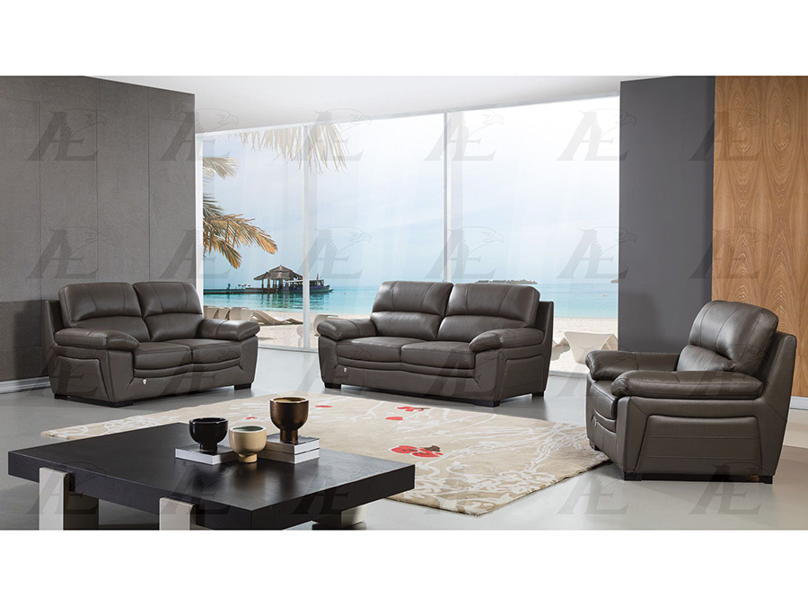 Taupe Leather Sofa Set