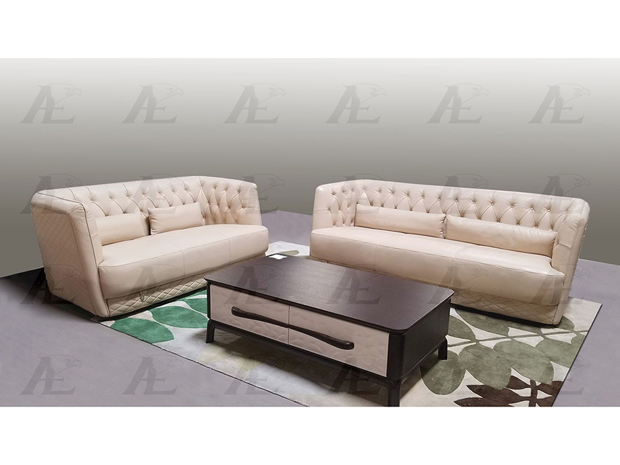 Cream Italian Leather Sofa Set