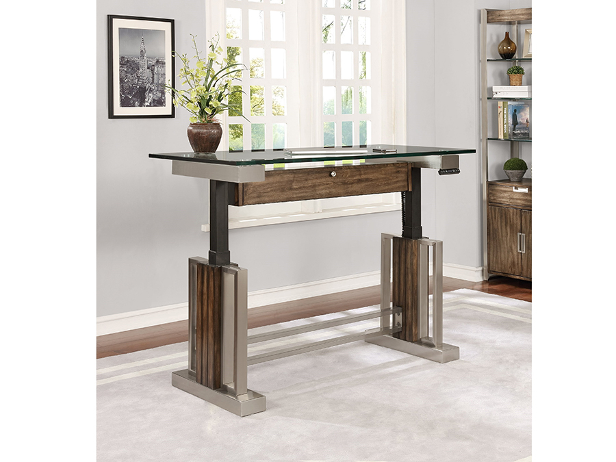 Soho 54 Quot Sit N Stand Adjustable Height Desk With Glass Top