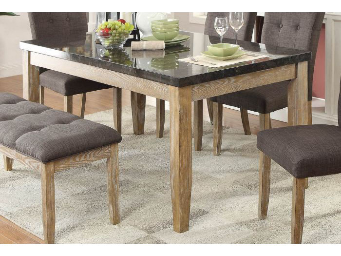 Huron Faux Marble Top Dining Table In Weathered Wood