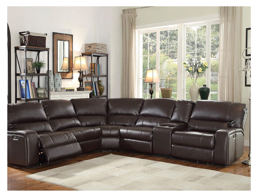 Motion Sectional Sofa With 2 Armless Recliners In Espresso