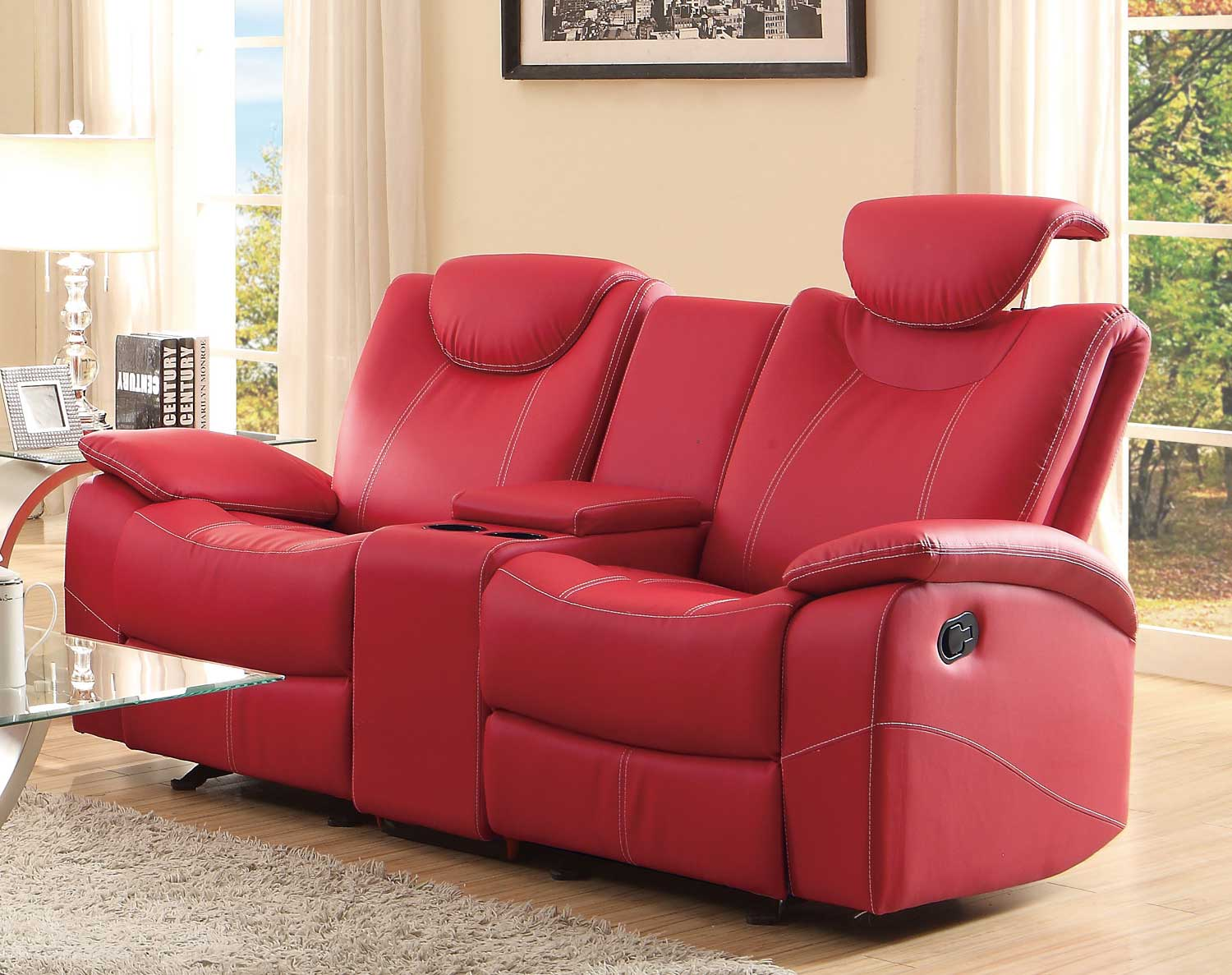 Talbot Reclining Love Seat In Red