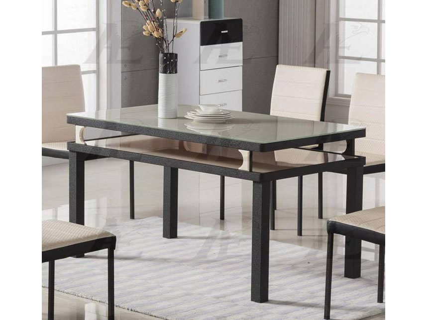 Black And White Tempered Gl Top Dining Table