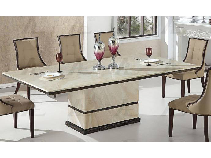 Tan Marble Top Dining Table