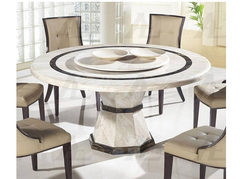 Beige Marble Top Round Dining Table