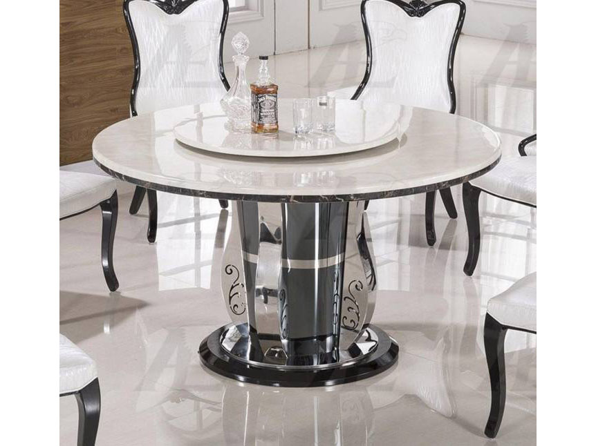 White Marble Top Round Dining Table
