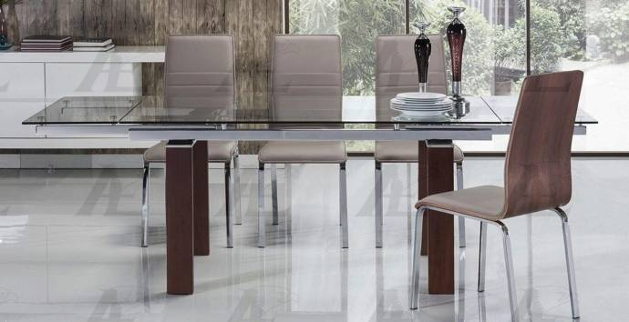 Clear Glass Top Extendable Dining Table Wood Legs Shop For - Glass top extendable dining room table