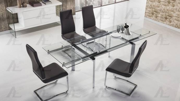 Clear Glass Top Extendable Dining Table Chrome Legs Shop For - Glass top extendable dining room table