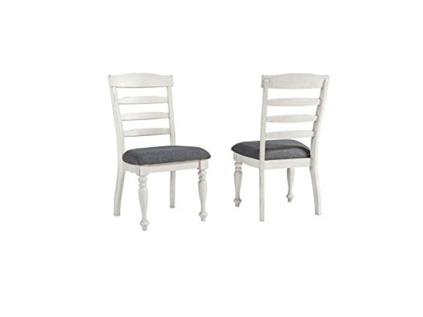 Bordeaux Labelle 2Pcs Dining Chair In White Wood And Grey Linen
