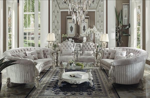 Charmant Versailles Ivory Velvet Sofa Set