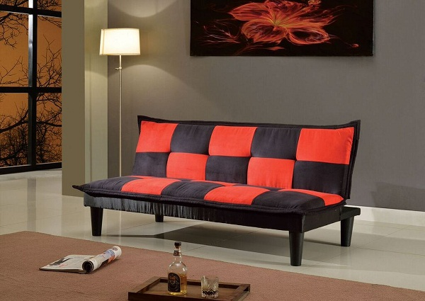Robin Black And Red Microfiber Adjule Sofa Bed Futon