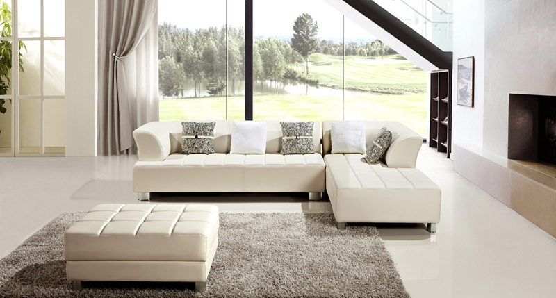 Modern Ivory Faux Leather Sectional Sofa