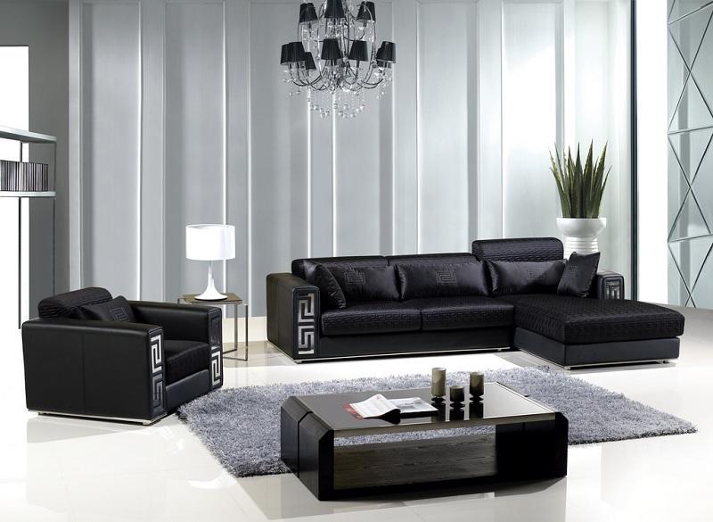 Modern Black Fabric Sectional Sofa