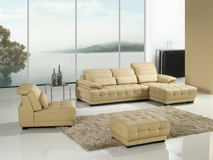 Modern Cream Faux Leather Sectional Sofa Shop For Affordable Home