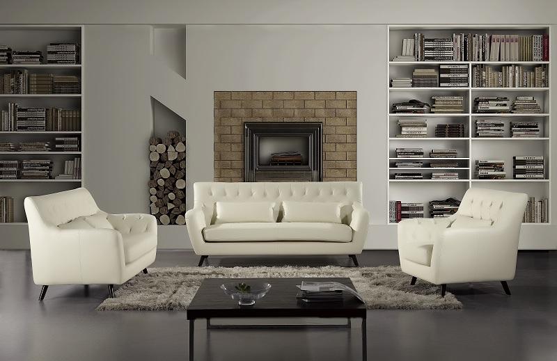 Swell 3Pcs Modern Ivory Bonded Leather Sofa Set Short Links Chair Design For Home Short Linksinfo