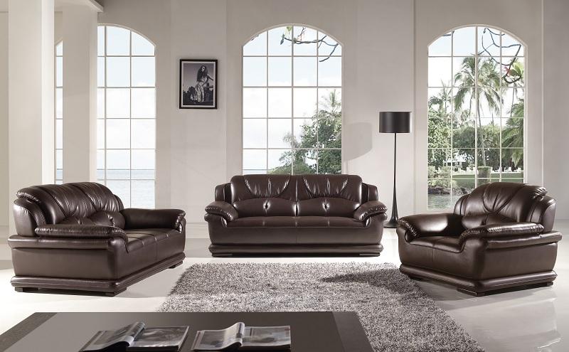 Modern 3pcs Dark Chocolate Leather Sofa Set