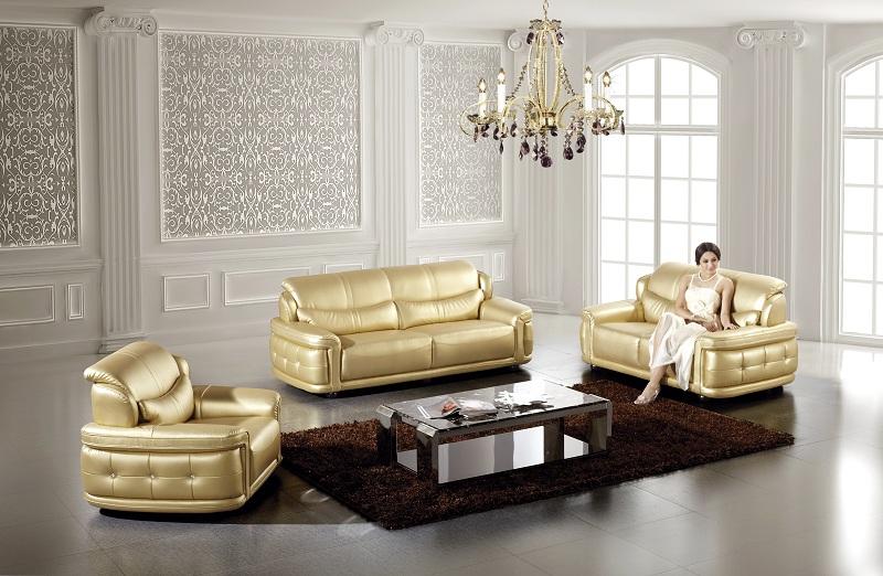 Modern 3pcs Gold Leather Sofa Set - Shop for Affordable Home ...