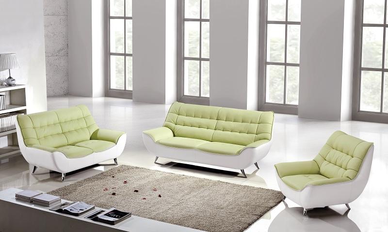 Modern 3pcs Green White Leather Sofa Set