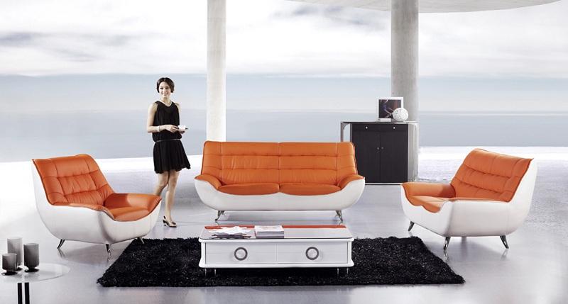 Modern 3pcs Orange White Leather Sofa Set