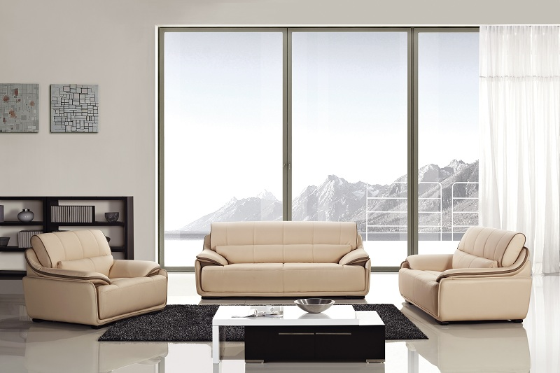 Modern 3pcs Peach Camel Leather Sofa Set