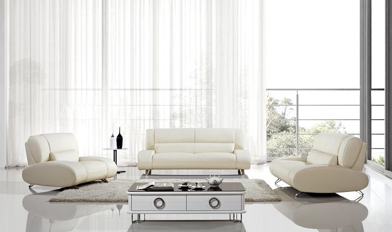 Wondrous Modern 3Pcs Ivory Leather Sofa Set Short Links Chair Design For Home Short Linksinfo