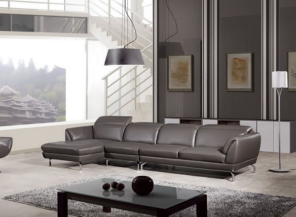 Modern Taupe Italian Leather Sectional Sofa