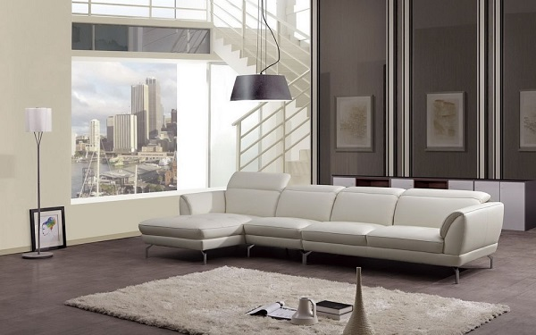 Modern White Italian Leather Sectional Sofa