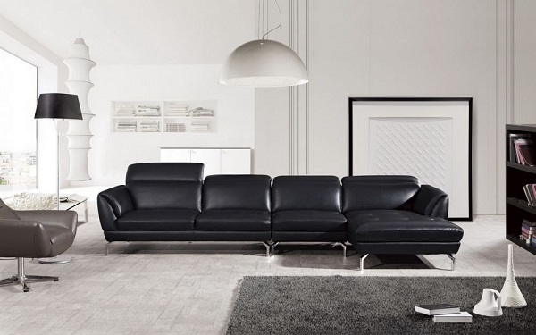 Modern Black Italian Leather Sectional Sofa