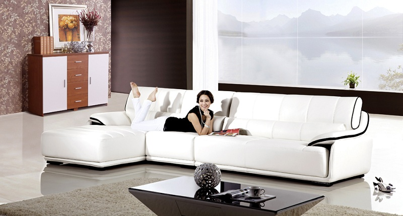Modern White Genuine Leather Sectional