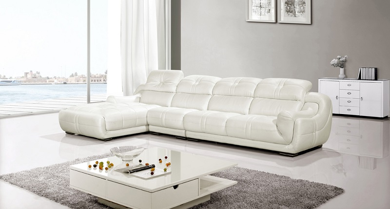 Modern White Genuine Leather Sectional Sofa Shop For Affordable