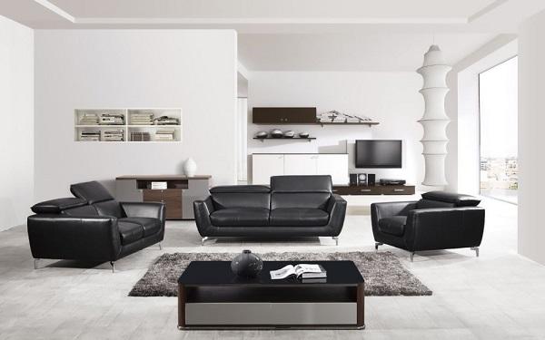 Modern 3Pcs Black Italian Leather Sofa Set