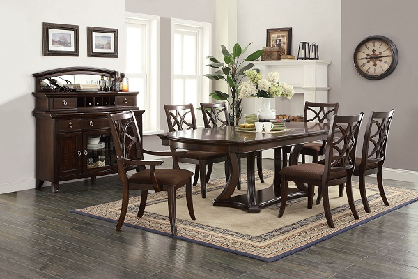 Keenan Dark Walnut Dining Table Set With Leaves Shop for