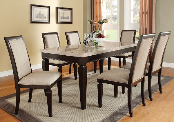 Agatha White Marble Espresso Dining Set Shop For Affordable Home