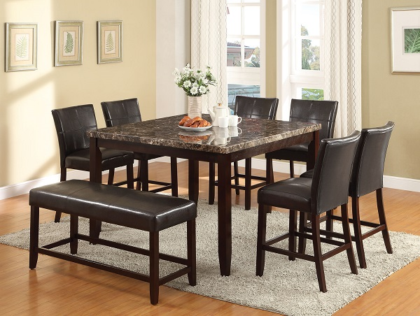 Superbe Idris Espresso Faux Marble Counter Height Dining Set