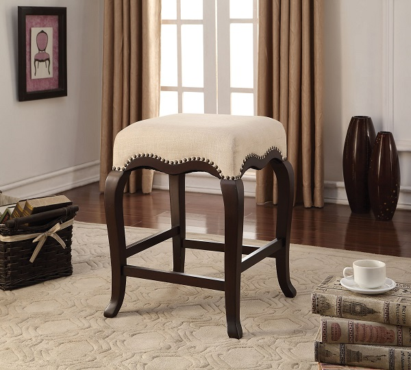 Kakabel Cream Fabric Espresso Counter Height Stool